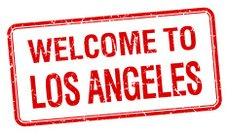 welcome to Los Angeles red grunge square stamp