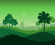 Grassy Green Environment, Vector Illustration.