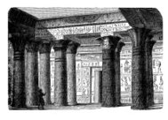 Antique Aegypt - temple interior, engraving middle '800