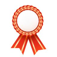 Red satin ribbon medallion isolated on white background. Success
