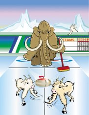 Mammoth playing curling