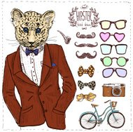 Hipster deer in suit hand drawn,