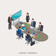 Flat 3d isometric vector illustration conference concept design