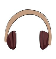 Headphone Hand Drawn Colored Vector Icon
