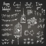 Doodle set of decoration: a bird in a cage, flowers