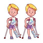 Cheerful and sad boy with broken leg in a cast.