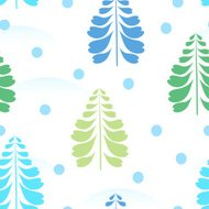 Seamless background with winter ornament, Christmas tree, snow.