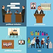 Set of icons on a political theme