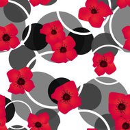 Seamless red flowers pattern with circles background