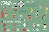 Exercise infographics elements. benefits of exercise, sport acti