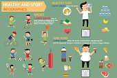 Healthy and sport infographics elements with healthy food and ju