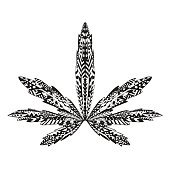 Zentangle stylized marijuana leaf. Sketch for tattoo or t-shirt