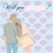 Greeting card will you marry me with a couple