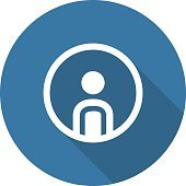 Personal Profile Icon. Man in Circle. Long Shadow.
