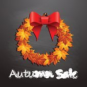 Wreath with autumn leaf and autumn sale.