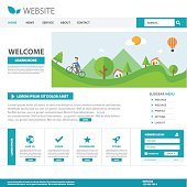 Blue Template web flat design for website