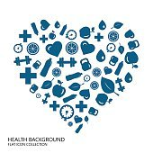 Healthy lifestyle seamless blue background from flat icon heart