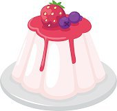 jelly pudding on white background vector