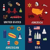 USA travel and american flat icons