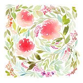 Floral background. Watercolor.