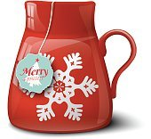 Red cup with snowflake, christmas motive
