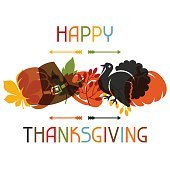 Happy Thanksgiving Day-Card design mit Ferien-Objekte