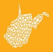 West Virginia State on Vector Lightbulb Pattern Background