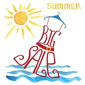 Summer big Sale lettering.Red Dres,watercolor sun,wave