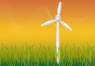 Windmill in a grassy summerfield
