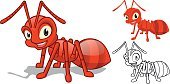 Detailed Red Ant Cartoon Character with Flat and Line Art