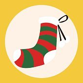 Christmas decorating socks flat icon elements background,eps10
