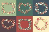 Floral Frame Collection. Set of cute retro flowers. Vector illustration