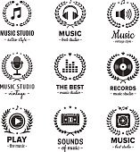 Music studio logo vintage vector set. Hipster and retro style.