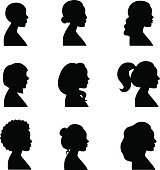 Women profiles silhouettes vector set.