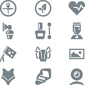 icon set different household objects gray