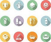 baby's things icon set color with long shadow