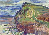 Mountain above the river in the spring painting