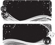 Set of Two Black and White Banners - Christmas