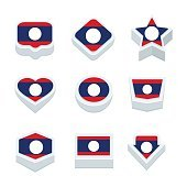 laos flags icons and button set nine styles