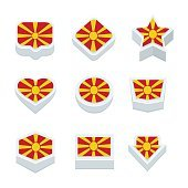 macedonia flags icons and button set nine styles