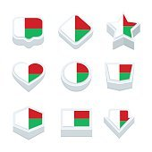 madagascar flags icons and button set nine styles