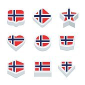 norway flags icons and button set nine styles
