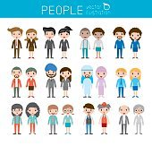 people characters, large group of people, vector background