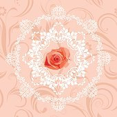 Ornamental circular element with rose on the seamless floral background