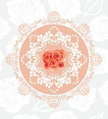 Ornamental circular element with roses on the seamless floral background