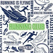 Typographic vector running club seamless pattern or background