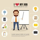 business man character with bubble icon infographic