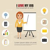 business woman character with bubble icon infographic