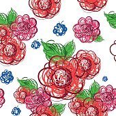 Flowers hand drawn. Vector seamless pattern