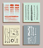 Hand Drawn Textures Cards Set, Hipster style.